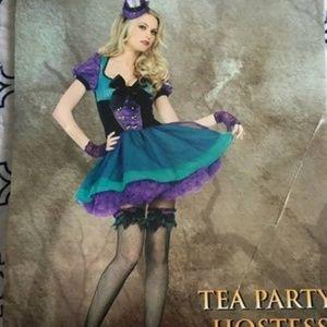 Ladies Mad Hatter Tea Party Hostess Costume sz L
